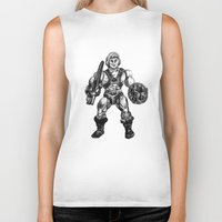 he man Biker Tanks featuring HE-MAN by Furry Turtle Creations
