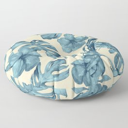 Island Vacay Hibiscus Palm Pale Coral Teal Blue Floor Pillow