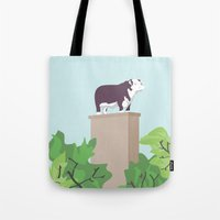 kansas city Tote Bags featuring Kansas City Cow by greetingsfromKC