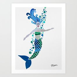 Bubbly Mermaid Art Print