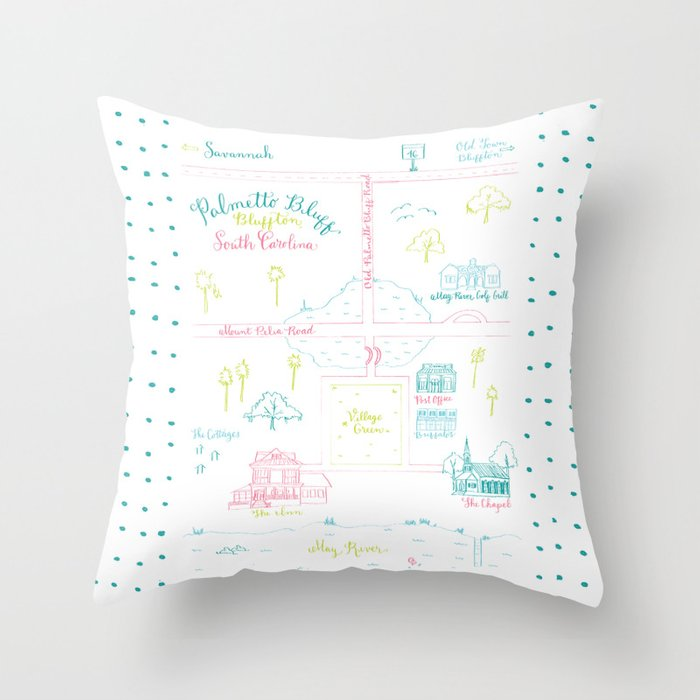 Bluffton, South Carolina Illustrated Calligraphy Map Throw Pillow