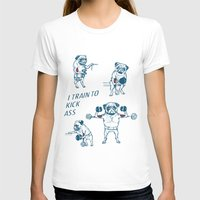 workout T-shirts featuring Pug Workout by Huebucket