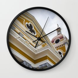 Looking up at the Exterior of the Yellow Granada Cathedral in Downtown Granada, Nicaragua Wall Clock