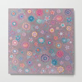 Colorful flowers pattern on pink Metal Print