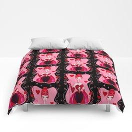 Queen of Hearts on Black Comforters