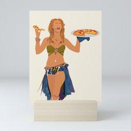 I'm a Slave 4 Pizza - Pop Singer Holding Pizza Mini Art Print