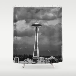 Seattle Skyline - B & W Shower Curtain
