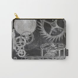 black and white vintage patent print chalkboard steampunk clock gear Carry-All Pouch