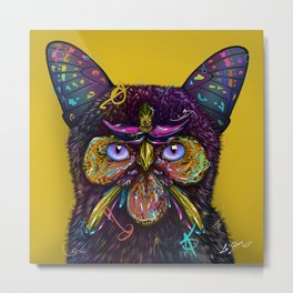 CAT-BUTTERFLY-BIRD-FLOWERS Metal Print