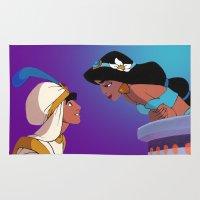 aladdin Area & Throw Rugs featuring Aladdin and Jasmine by Niko Herrera