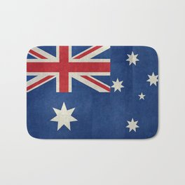 "Australian flag, retro ""folded"" textured version (authentic scale 1:2) Bath Mat"
