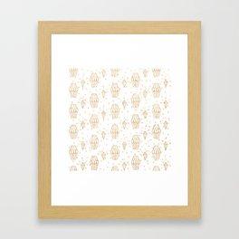 Elegant white gold faux glitter polka dots diamond pattern Framed Art Print