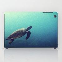 sea turtle iPad Cases featuring Turtle by Rachel's Pet Portraits