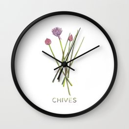 Watercolor Chives Illustration Wall Clock