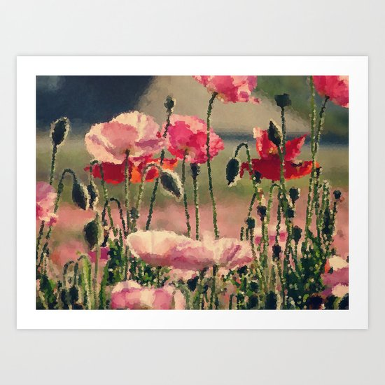 Polka Poppies Pink Red Flowers Abstract Floral Botanical Nature Art Print
