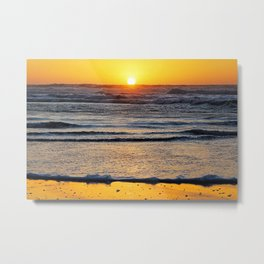 Yellow Beach Sunset Metal Print