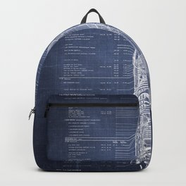 Apollo 11 Saturn V Blueprint in High Resolution (dark blue) Backpack