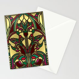 Victorian Stained Glass in Gold and Maroon Stationery Cards