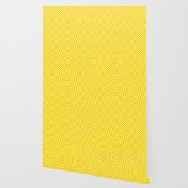 Tiny Paw Prints Pattern - Bright Yellow & White Wallpaper