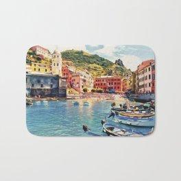 Vernazza on Italian Riviera, sea boats coastal houses, Italy marine nature travel art poster Bath Mat