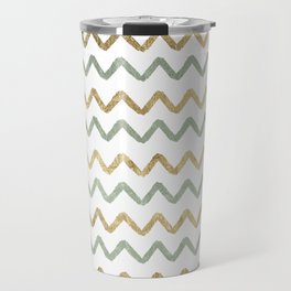 Chic blush green faux gold zigzag chevron Travel Mug