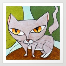 Sweet Gray Kitty Art Print