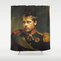 brad pitt Shower Curtains featuring Brad Pitt - replaceface by replaceface