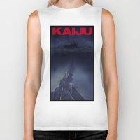 kaiju Biker Tanks featuring kaiju by tama-durden