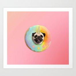 Unicorn Pug Pastel Donut Art Print