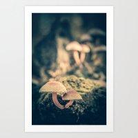 mushrooms Art Prints featuring mushrooms by Koka Koala