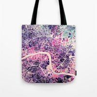 london Tote Bags featuring London Mosaic Map #2 by Map Map Maps