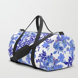 BLUE AND WHITE ROSE LEAF TOILE PATTERN Duffle Bag