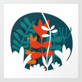Flower Bouquet in Deep Blue and Orange Art Print