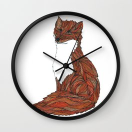 'Earthen Fox' Illustrated Geometric Line Art Fox Wall Clock
