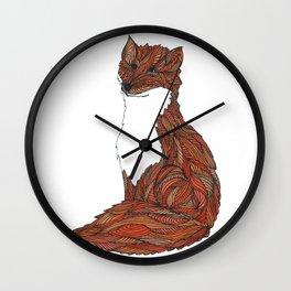 'Earthen Fox' Illustrated Geometric Line Art Fox Wall Clock