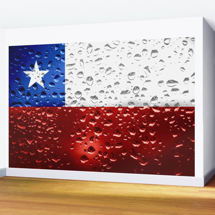 Flag of Chile - Raindrops Wall Mural