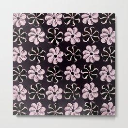 Floral design Black & Light Fuchsia Flowers Print Metal Print