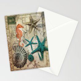 french botanical art seahorse teal green starfish Stationery Cards