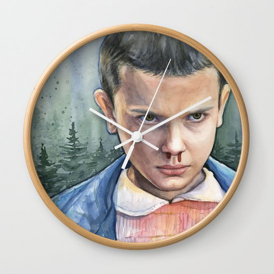 Stranger Things Eleven Watercolor Portrait Art Wall Clock