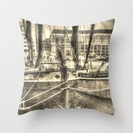 Thames Barges art Throw Pillow