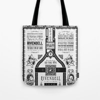 lotr Tote Bags featuring Lord of the Rings Rivendell Vineyards Vintage Ad by Barrett Biggers
