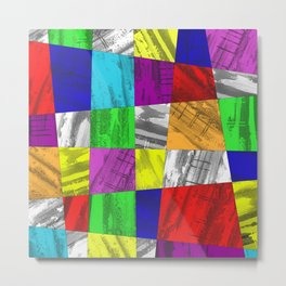 Crazy Colour Tiles - Textured, abstract pattern Metal Print