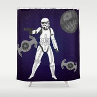 storm trooper Shower Curtains featuring storm trooper by Agentsassy