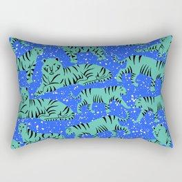 Urban Mod Tiger - teal and electric blue Rectangular Pillow