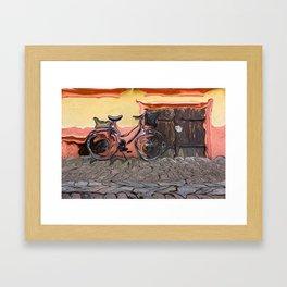 Bicycle On Sidewalk Framed Art Print