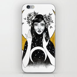 Astrological drawing: peony iPhone Skin
