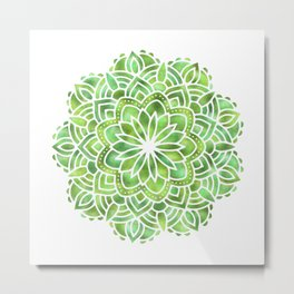 Mandala Green Leaves Metal Print