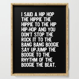 Rappers Delight Hip Hop in black Lyric Music Art Print Poster Serving Tray