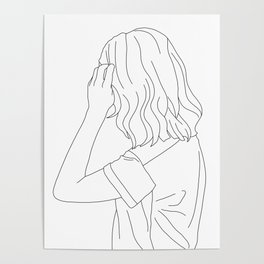 Fashion illustration line drawing - Cain Poster