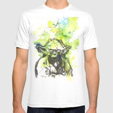 May the Force be with You Yoda Star Wars White MEDIUM Mens Fitted Tee
